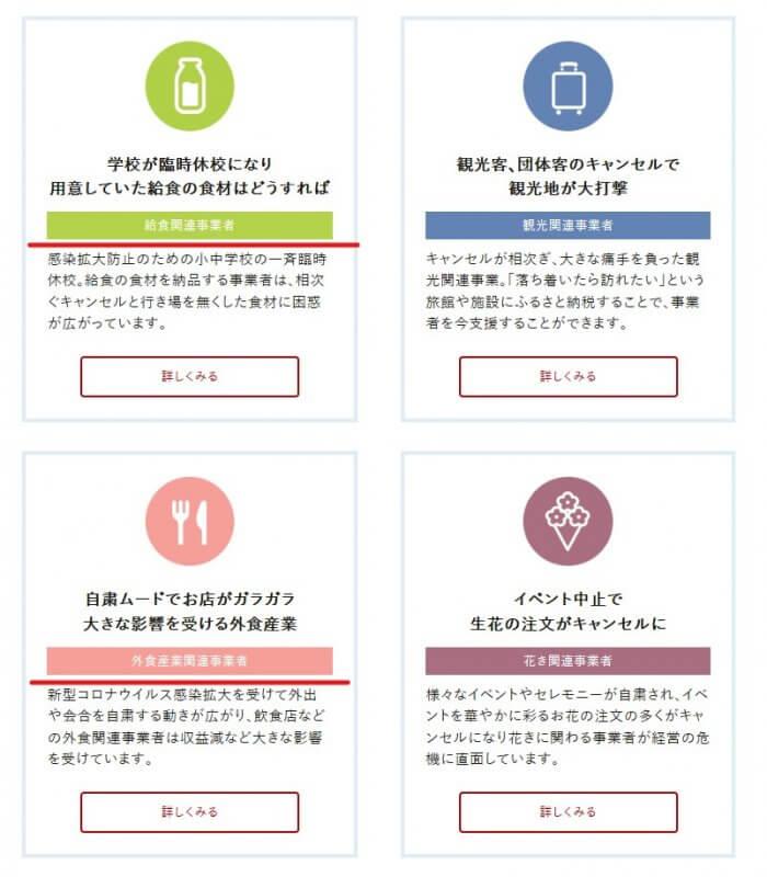 《新型コロナウイルス被害事業者向け支援プロジェクト》の選択画面